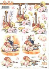 Feuille 3D à découper A4 Musique Fleur Lyre Mandoline 8215.492 - Decoupage Music
