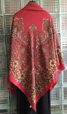 """Chanel Large Shawl Stole 100% Silk  55"""" X 55"""" Red W Jewels Detail ,Authentic"""
