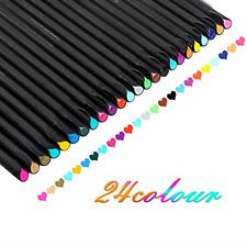 24Set Fineliner Color Pen Set Sketch Drawing Doodling Scrapbooking Fine Line ...