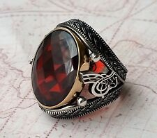 Turkish Ottoman Red Garnet Gemstone Solid 925 Sterling Silver Mens Ring Gemstone