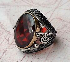 TURCO OTOMANO Rojo Gema Granate Plata Maciza 925 Anillo Hombre piedra preciosa