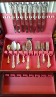 VTG Wm A Rogers Valley Rose Oneida Set of Silver-plated Flatware 32 Pieces & Box