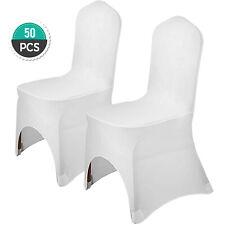 50pcs Housse de Chaise Couverture Blanc Extensible pour Décoration Mariage Fête