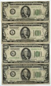 FOUR (4) 1934 $100 U.S. FEDERAL RESERVE NOTES ~ STARTS CLOSE TO FACE VALUE