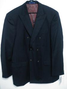 Paul Fredrick Mens Size 46L Long Black Double Breasted Sport Coat Suit Jacket