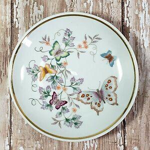 """1979 Avon Miniature Plate Vintage 22K Gold Trim Butterfly Floral Porcelain 4"""""""