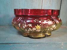 bouquetiére en verre émaillé décor fleurs ancien .19éme.french antique brocante
