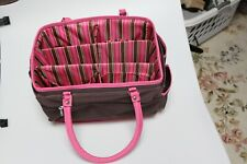 cute pink Knitting Bag Yarn Storage Tote With Inner Dividers