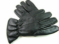 Mens New Premium Soft Thinsulate Fleece Lined Black Real Leather Gloves Winter