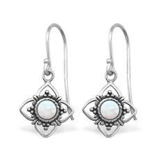 TJS Genuine 925 Sterling Silver Earrings Hook Antique Flower Fire Snow Opal