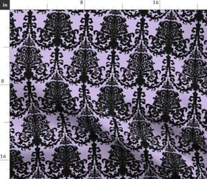 Black Goth Gothic Lilac Damask Pastel Lavender Spoonflower Fabric by the Yard