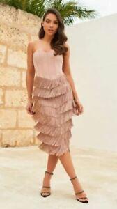 Lavish Alice corset bandeau fringe midi dress in mink