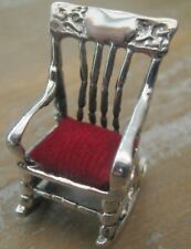 Unusual American Rocking Chair Solid Silver Pierced Pin Cushion Red Velvet