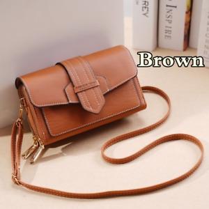 Women's Bag Crossbody Retro Button Flip Purse PU Leather Shoulder Bag Brown