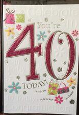 Sei 40 oggi-COMPLIMENTI-celebrare 40-Scheda di compleanno rosa