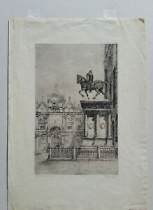 "Paul Lameyer etching, ""Colleoni, Venice"""