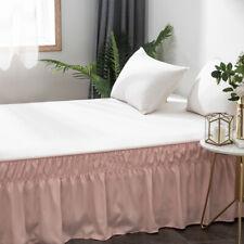 14'' Drop Bed Skirt Dressing Dust Ruffle Wrap Around Bed Microfiber Queen Pink