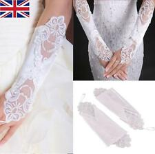 Women Fingerless Lace Short Gloves For Bridal Wedding Party pearl