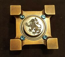 Steel Flame ring spin honor/respect shield w lion slug spinner