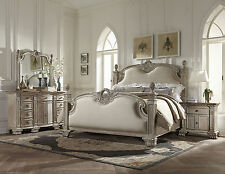 ELENA 5 pieces Traditional Antique White Bedroom Set w/ King Poster Mansion Bed