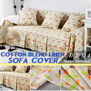 1/2/3/4 Seater Cotton Linen Sofa Covers Slipcover Stretch Floral Couch