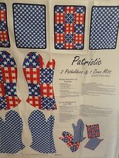 """""""PATRIOTIC POTHOLDERS& MITTS"""" Fabric Sewing Panel  New Cut & Sew  2 OF EACH"""