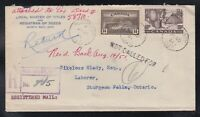 Canada 1951 Registered Returned Cover North Bay to Sturgeon Falls