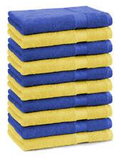 Lot de 10 serviettes débarbouillettes Premium couleur: jaune & bleu royal