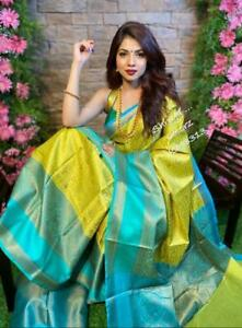 Traditional Stylish Indian Banarasi Cotton SIlk Saree Sari Pakistani Party Sari