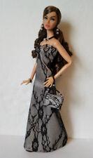 POPPY PARKER Clothes Black Lace GOWN, PURSE & JEWELRY HM Fashion NO DOLL d4e