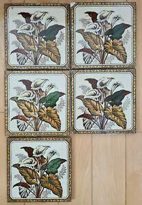 """Set of 5 Antique Victorian floral tiles. 6"""" x 6""""."""