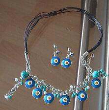 Schmuck Set Halskette+Ohrringe Kette Chocker Blaues Auge *Nazar* Türkisstein