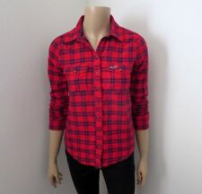 NWT Hollister Womens Plaid Shirt Size XS Top Red & Navy Blue