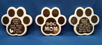 3 DOG PAW LOT of Animal Refrigerator Ceramic MAGNET - Dog Mom & 2 Word Quotes