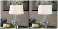 TWO RICH MOTTLED LIGHT BLUE GLASS TABLE LAMP LINEN BRUSHED BRASS BASE LIGHT