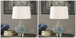 PAIR CELINDA MODERN MOTTLED ART GLASS TABLE LAMP BRUSHED BRASS METAL UTTERMOST