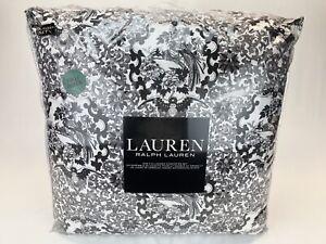 RALPH LAUREN Comforter Set Black Gray White Porcelain Tamarind Bird Full/Queen