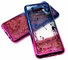 For Samsung Galaxy S8+ PLUS - Blue Hot Pink Key Flower Glitter Liquid Water Case