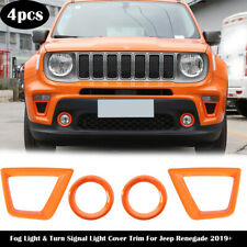 Orange Front Fog Light & Turn Signal Lamp Cover Trim For Jeep Renegade 2019+ ABS