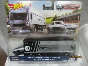HOTWHEELS TEAM TRANSPORT IWC RACING  MERCEDES BENZ 300 SL AND EURO HAULER