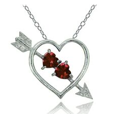 Sterling Silver Garnet and White Topaz Heart & Arrow Necklace