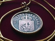 "1850 PRUSSIAN EAGLE 90 EINEN THALER SCHNEIDE MUNZE Pendant 24"" Gold Filled Chain"