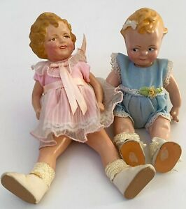 "SHIRLEY TEMPLE & DOODLES DOLLS Reproduction 6"" & 7"" hand painted 1983"