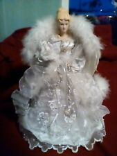 Vintage Angel-Porcalein, Silver Embellished Gown,White Fur,Feathered Wings 14""