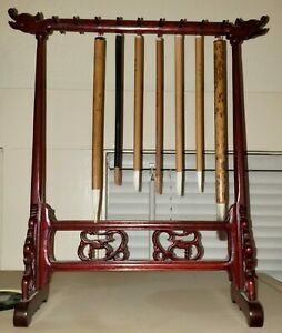 VINTAGE CHINESE CALLIGRAPHY BRUSH STAND ROSEWOOD WOOD HOLDER DRAGONS ~