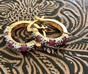 Ruby and Gold Vermiel Hoop Earrings, GUC