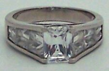 Beautiful Estate Cubic Zirconia Sterling Silver Wedding Band Ring Size 8