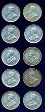 AUSTRALIA KING GEORGE V  1925  1 SHILLING SILVER COINS, GROUP LOT OF (10), VF/XF