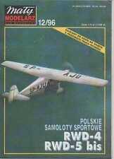 1:33 scale- Polish Sports plane's RWD-4 & RWD-5 - Paper Card Model