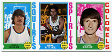 1974-75 Topps LARRY MILLER GENE LITTLES Blank Back Uncut Sheet Strip Vault COA